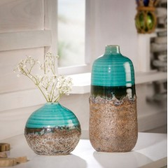 """Декоративные вазы """"Морская вода"""" керамика, 2 штуки"""