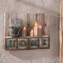 "Картина ""Дом"" с 4 светодиодами, холст, 30х40 см"