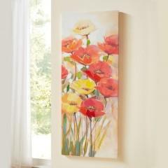 "Картина ""Яркие маки"" холст, 40х100 см"