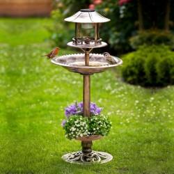 """Поилка, кормушка, купальня для птиц """"Солар"""" с солнечным светильником, В 105 см"""