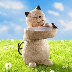 """Поилка для птиц """"Кот"""", искусственный камень, высота 30 см"""