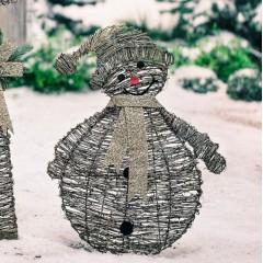 """Декоративная фигура """"Снеговик"""" ротанг, 48х65 см"""