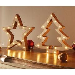"""Декор """"Елочка и звезда"""" со светодиодами, дерево, 2 шт."""