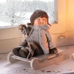 """Декоративная фигура """"Девочка на санках"""" 20х12х18 см"""