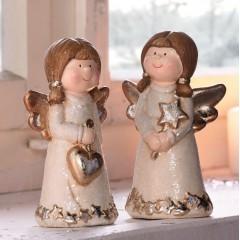"""Декоративные фигурки """"Ангелы в блестящем"""" керамика, 2 шт., В 13 см"""