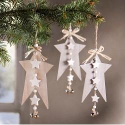 """Декоративные подвески """"Звезды с колокольчиками"""" дерево, 3 штуки"""
