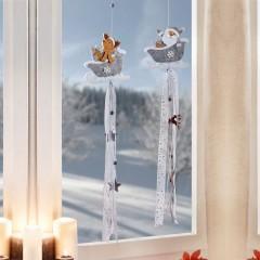 """Декоративные подвески """"Санта и Олень"""" флис, 2 штуки"""