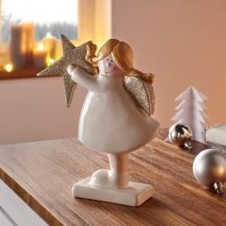 """Декоративная фигура """"Ангел со звездой"""" фарфор, 17х5х20 см"""