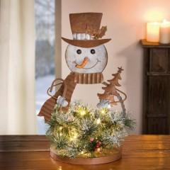 """Декоративная фигура """"Снеговик в елках"""" с подсветкой, металл, В 44 см"""