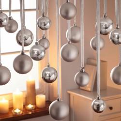 """Декоративные подвески """"Елочные шары серебро"""" 70 штук"""