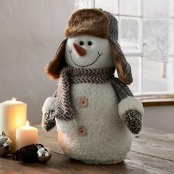 """Декоративная фигура """"Снеговик в шапке"""" текстиль, высота 41 см"""