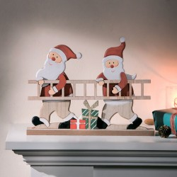 "Декоративная фигура ""Санты с лестницей"" дерево, 30х23 см"