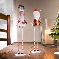 """Декоративные фигуры """"Санта и Снеговик"""" металл, 2 штуки, высота 25 см"""