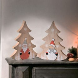 "Декоративные фигурки ""Санта и Снеговик в елочках"" дерево, 2 штуки"