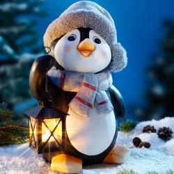 """Декоративная фигура """"Пингвин с фонариком"""", искусственный камень, высота 30 см"""