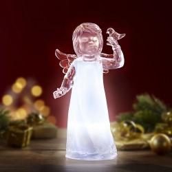 """Декоративная фигура """"Ангел Мария"""" с подсветкой, пластик, высота 19 см"""
