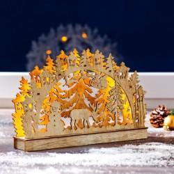 """Новогодний декор """"Зимняя сказка"""" со светодиодами, дерево, 28,5х4,5х18,5 см"""