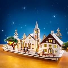 """Новогодний декор """"Рождественская деревня"""" со светодиодами, длина 50 см"""
