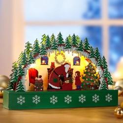 """Новогодний декор """"Праздник Рождества"""" со светодиодами, дерево, 25х4,5х16,5 см"""