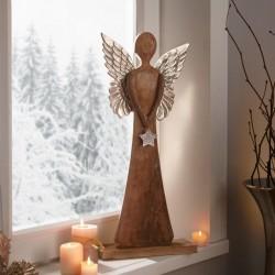 """Декоративная фигура """"Ангел с серебряной звездой"""" дерево манго, высота 62 см"""