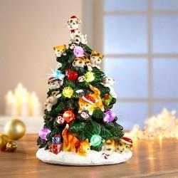"""Декоративная фигура """"Рождественская елка с котятами"""", со светодиодами, высота 24 см"""
