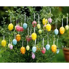 """Декоративные подвески яйца """" Праздничные цвета"""" пластик, 36 шт."""