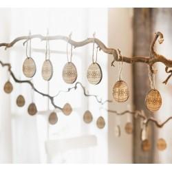 """Декоративные подвески яйца """"Узор"""" дерево, 20 шт."""