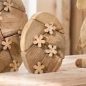 """Декоративная фигура """"Яйцо в цветочках"""" малое, дерево, В 20 см"""