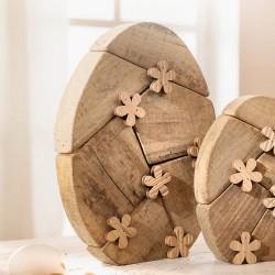 """Декоративная фигура """"Яйцо в цветочках"""" большое, дерево, В 28 см"""
