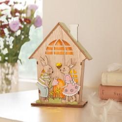 """Декор """"Пасхальный домик"""" со светодиодами, дерево, 12х6х16 см"""