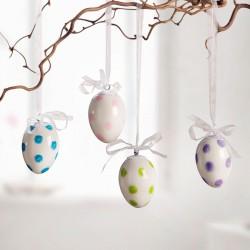 """Декоративные подвески яйца """"Разноцветный горошек"""" фарфор, 4 штуки"""