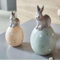 """Декоративные фигуры """"Пасхальные яйца с зайчиками"""", терракота, 2 штуки"""