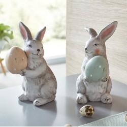 """Декоративные фигуры """"Зайчики с яйцами"""", терракота, 2 штуки"""