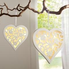 """Декоративные подвесы """"Сердечки с узором"""" с подсветкой, дерево, 2 шт."""