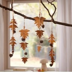"""Декоративные подвески """"Осенние листья"""", металл, 4 штуки"""