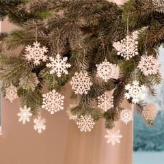 """Декоративные подвески """"Снежинки"""" дерево, 18 штук"""