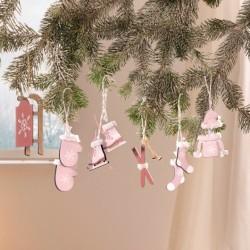 "Декоративные подвески ""Зимний спорт"" дерево, 6 штук"
