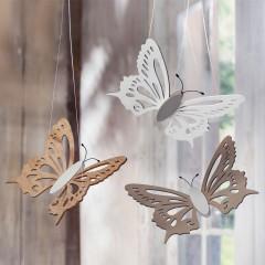 """Декоративные подвесы """"Бабочки"""" дерево, 3 штуки"""