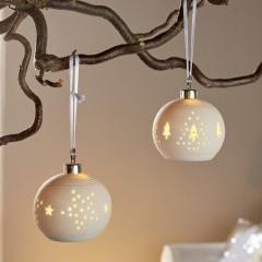 """Декоративные подвесы """"Фарфоровые шары"""" со светодиодами, фарфор, 2 штуки"""