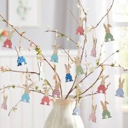 """Декоративные подвески """"Зайчики - яркое настроение"""" дерево, 9 штук"""