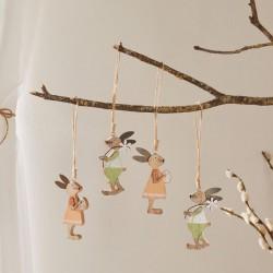 """Декоративные подвески """"Зайчики - весеннее настроение"""", дерево, 4 штуки"""
