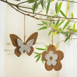 """Декоративные подвески """"Цветок и бабочка"""", 2 штуки"""