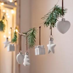 """Декоративные подвесы """"Белое Рождество"""", фарфор, 8 штук"""