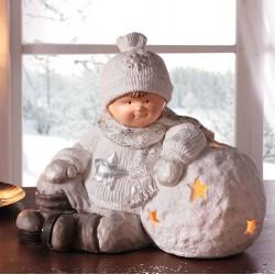 """Подсвечник """"Мальчик со снежком"""" интерьерный, 40х20х35 см"""
