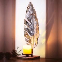 """Подсвечник """"Серебряный листок"""", металл/дерево манго, высота 51 см"""