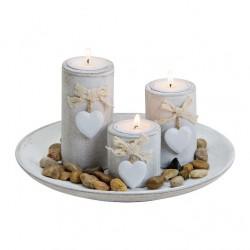 """Подсвечники на подносе """"Сердечки"""" на 3 свечи, дерево, диаметр подноса 24 см"""
