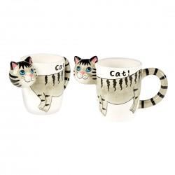 """Чашки """"Кошки"""" керамика, 2 штуки, объем 200 мл"""