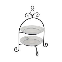 """Этажерка для сервировки """"Французская лилия"""", 2 уровня, в двух цветах, высота 28 см"""