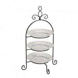"""Этажерка для сервировки """"Французская лилия"""", 3 уровня, в 2 цветах, высота 37 см"""