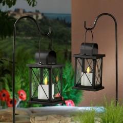 """Садовые фонари солнечные """"Флер"""" черные, металл, 2 штуки, со штекерами и светодиодными свечами"""